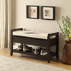 European style indoor wood storage bench with shoe shelf