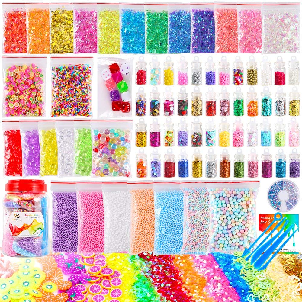 OPount 82 Pack Making Kit Supplies for Slime Including Foam Balls, Fishbowl Beads, Glitter Jars, Pearls, Fruit Slices, Sugar Paper, Candy Sweets Beads and Tools for DIY Slime Making(Not Contain Slime)