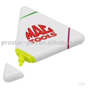 Triangle plastic highlighter with logo