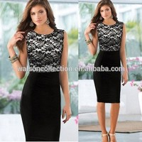 Seller factory walson Instyles Sali 2015 New Women Bodycon Party Pencil Dress Sey Slim Lace Sleeveless Clothes Plus size Vestido