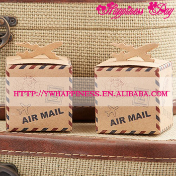 Travel Themed Wedding Gift Box Of Let The Adventure Begin Airplane Kraft Favor Boxes For