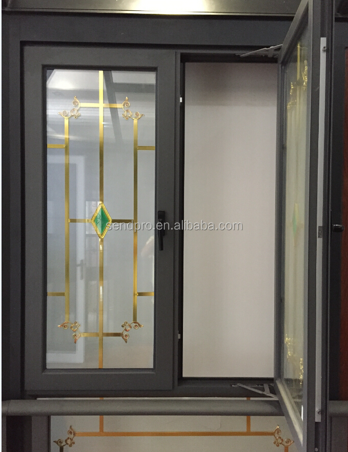 Swing aluminum window grill design inside double glass for Metal window designs