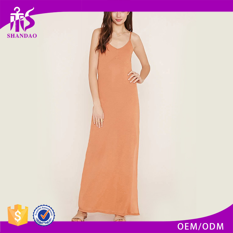 Guangzhou Shandao Fashion Design Orange Plain Adjustable Spaghetti Strap Ankle Length Wholesale Bulk Sexy Names Of Girls Dresses