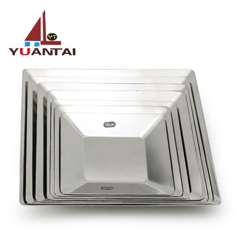 201 Quality square stainless steel dinner plate food plate for restaurant