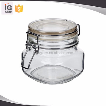 Flip Top Large Glass Jars For NutClear Glass Storage Jar With Clamp