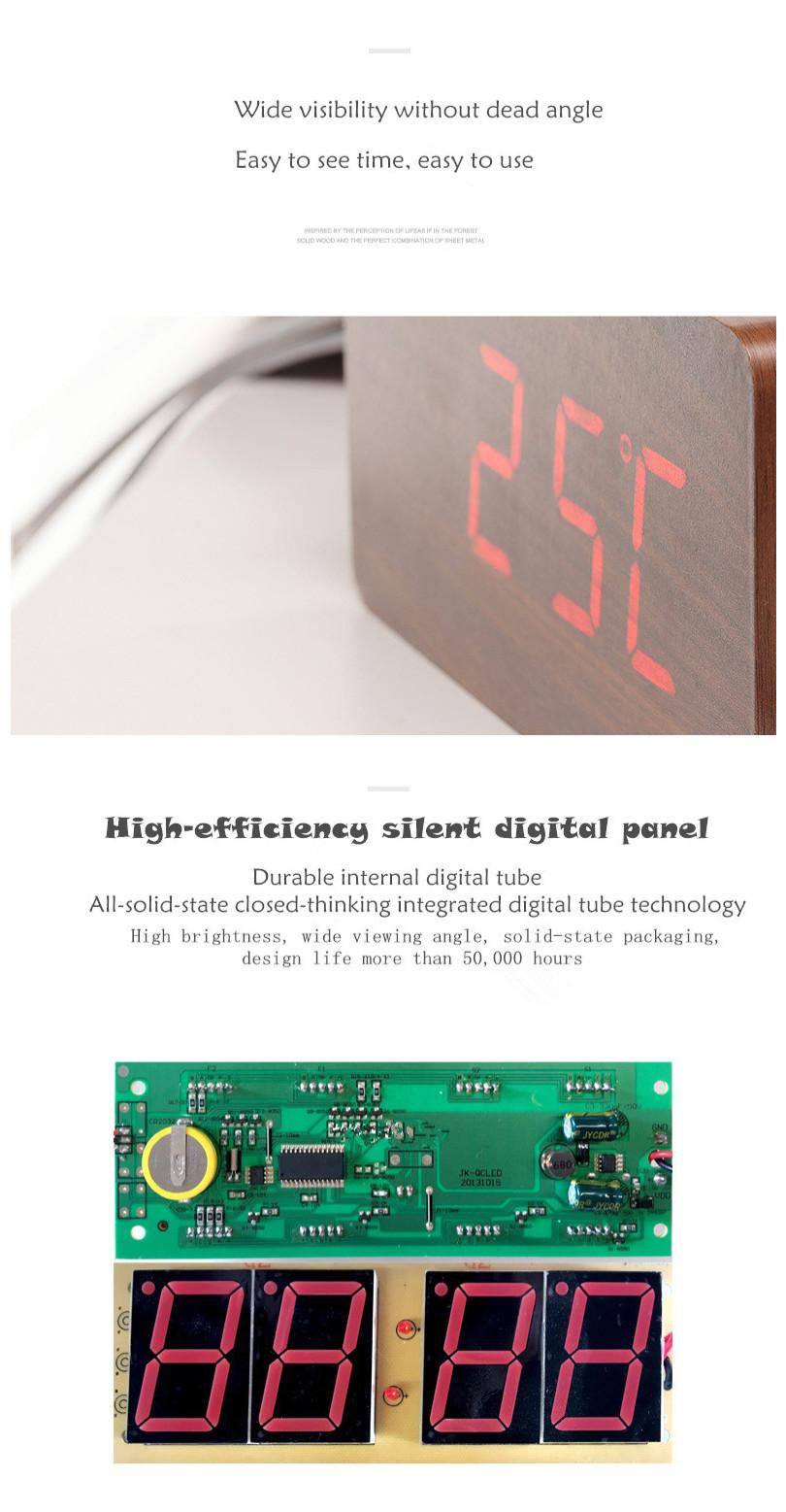 Pasokan Pabrik Cuaca Stasiun Wake Up Lampu LED Meja Jam Alarm Digital Kayu Jam Alarm dan FM Jam Alarm