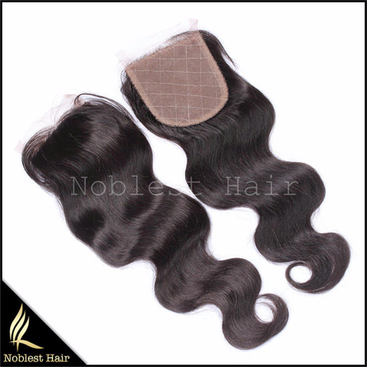 7a brazilian virgin hair extensions body wave hair with one bleached knots 3.5*4 free style silk base closure