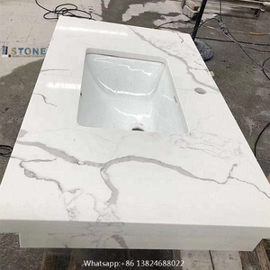 Carrara white and Calacatta white man made stone from Foshan factory and China stone suppliers