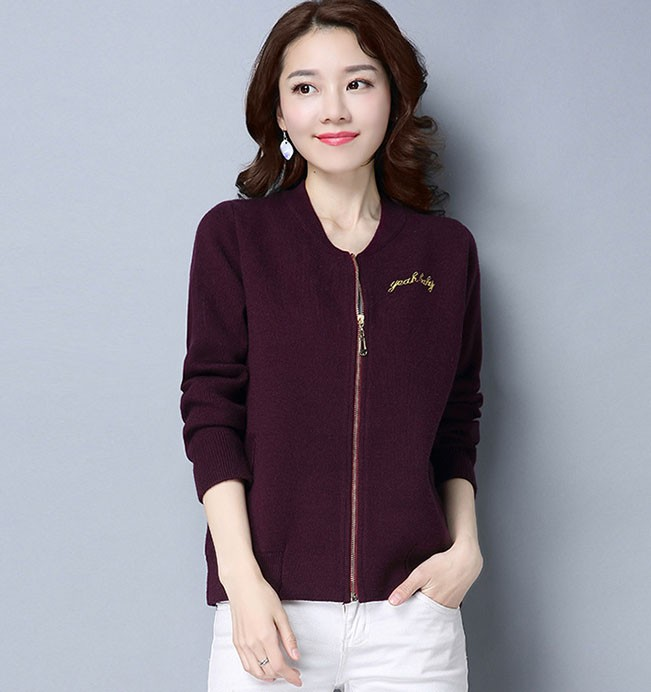 71a619f5c2c8 Ladies Handmade Embroidery Knitting Sweaters Zip Cashmere Cardigan ...