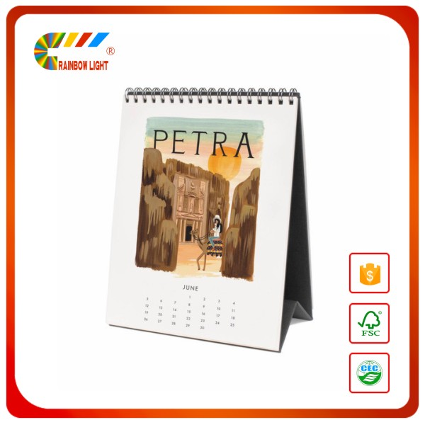 Cheap hot sale desk calendar gold foil stamping 2018 chinese wall calendar