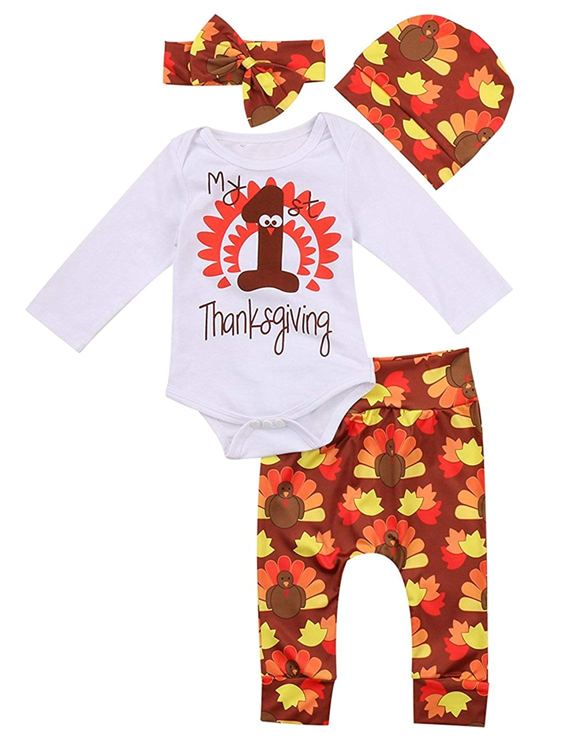 086e19850fea Get Quotations · 4Pcs Baby Thanksgiving Outfit Newborn Boy Girl 1st Thanksgiving  Rompers Turkey Pants with Hat and Headband
