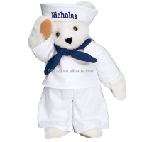 Personalized Logo Custom Mascot Custome Plush Soft Stuffed Bear Sailor Bear Outfit Shirt Dress JZ-JJ287