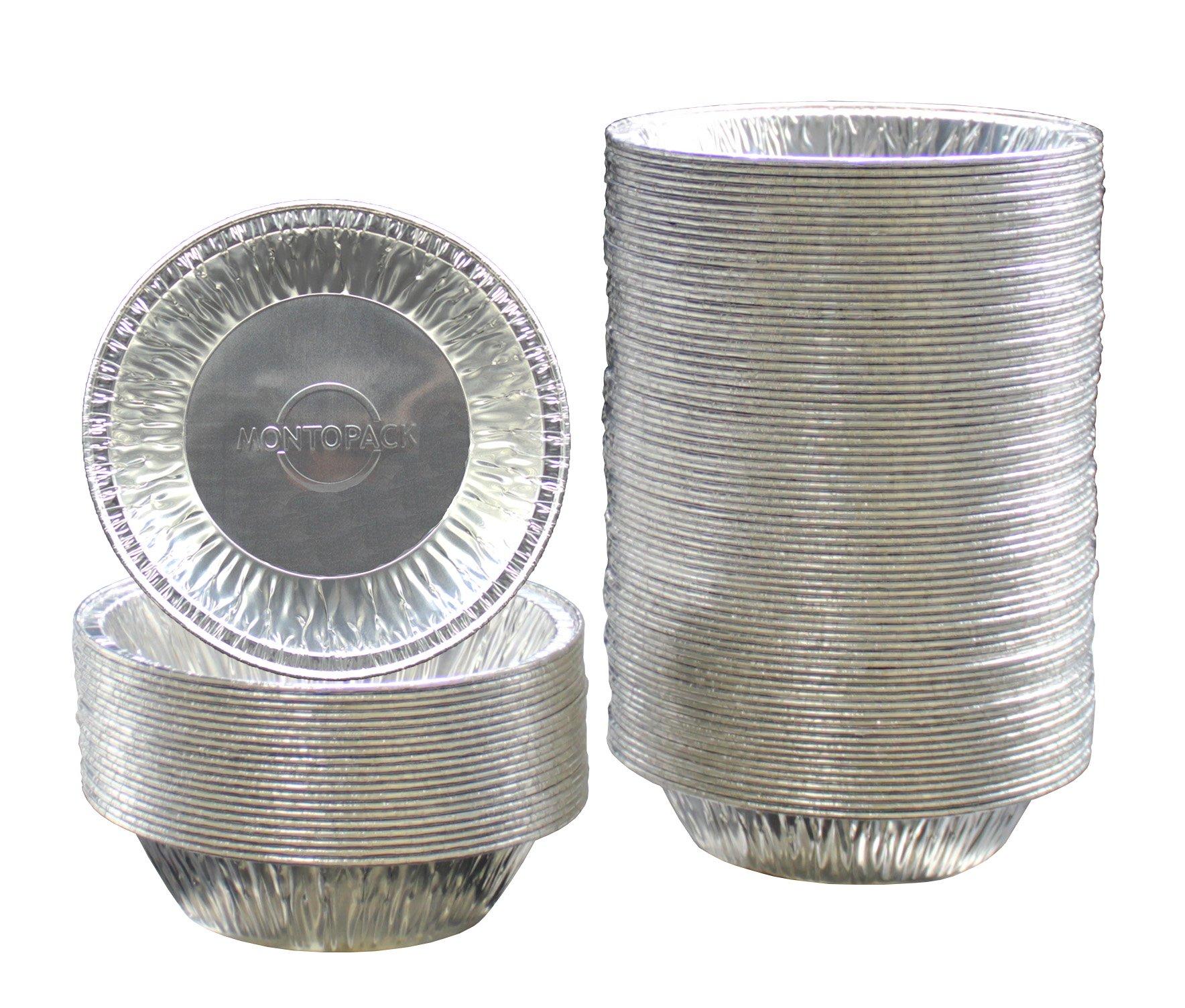 "MontoPack Disposable 5"" Aluminum Foil Tart/Pie Tins Pans (100 Pack)"