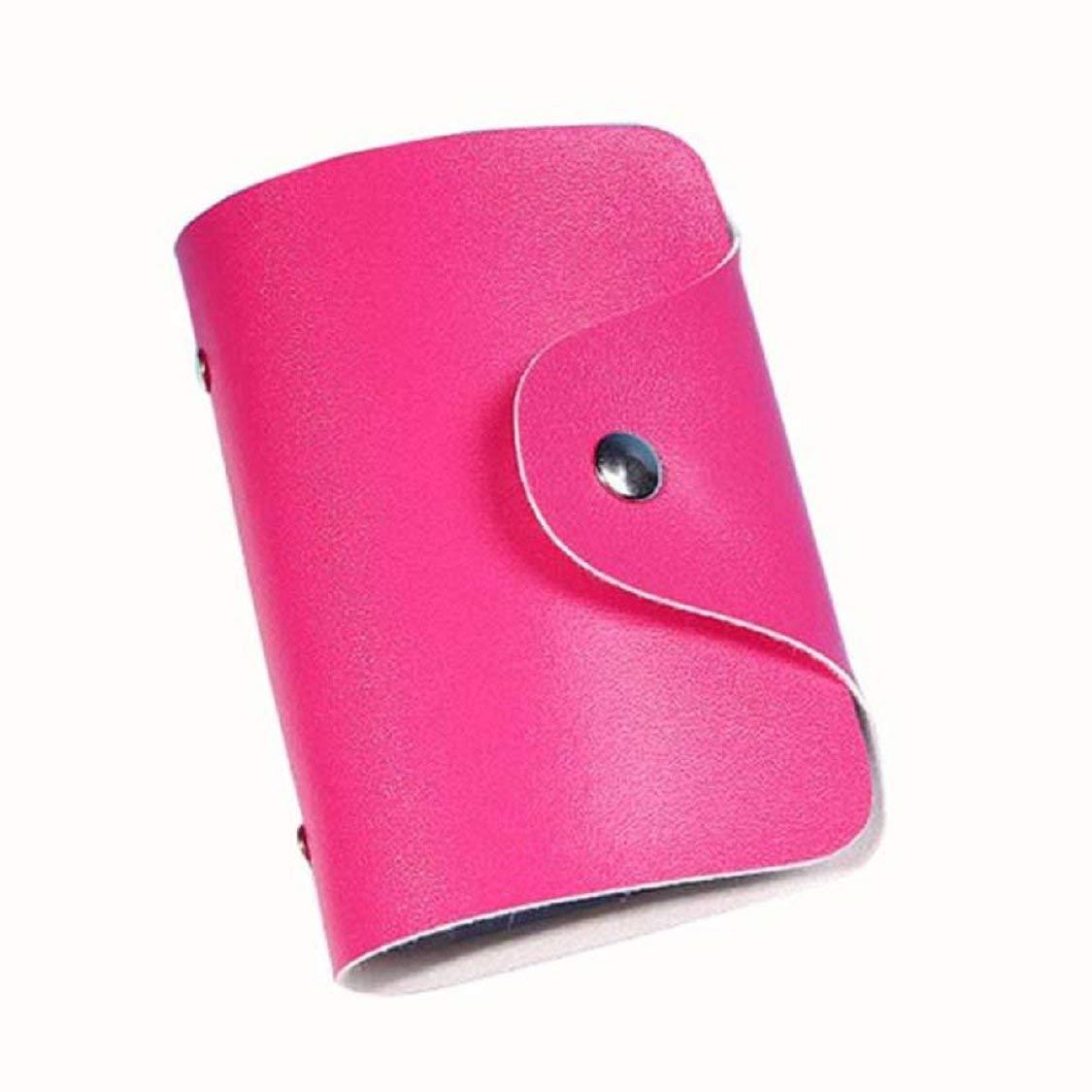 20349c0fcd779 Get Quotations · Ikevan Men Women Leather Credit Card Holder Case Card  Holder Wallet Business Card (Hot Pink