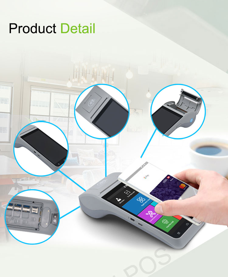 Cost-effective Android 9.0 NFC PDA Machines Mobile All In One Touch POS System with Printer , Top up POS
