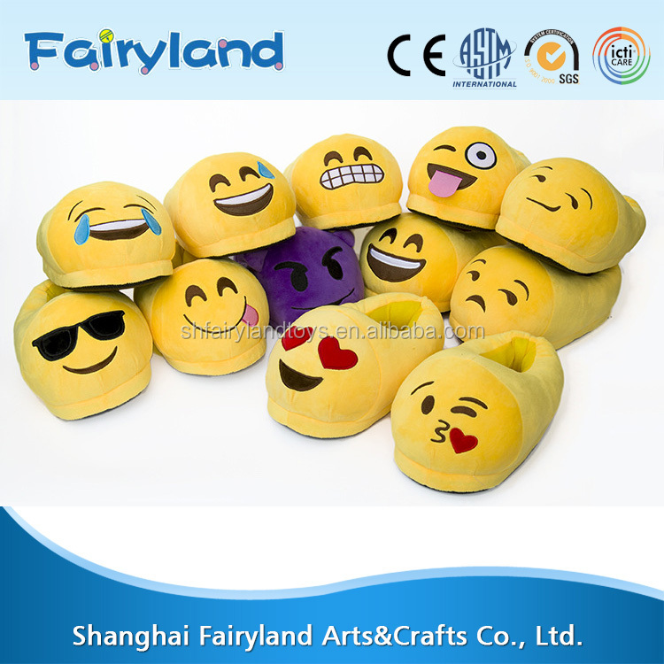 Online wholesale high quality soft material plush emoji <strong>slippers</strong>