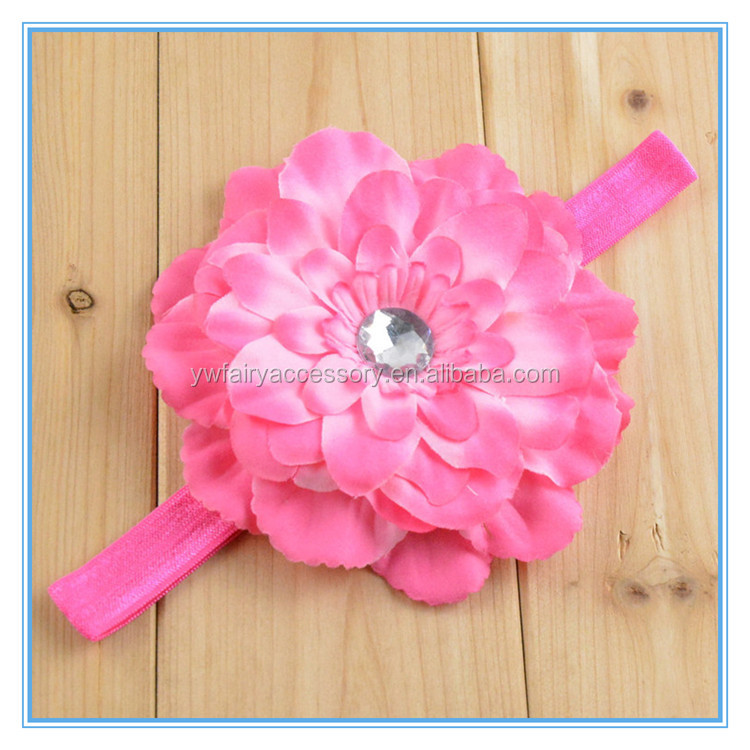 High Quality Baby Hair Accessories Elastic Headband For Kids Artificial Flower Baby Headbands