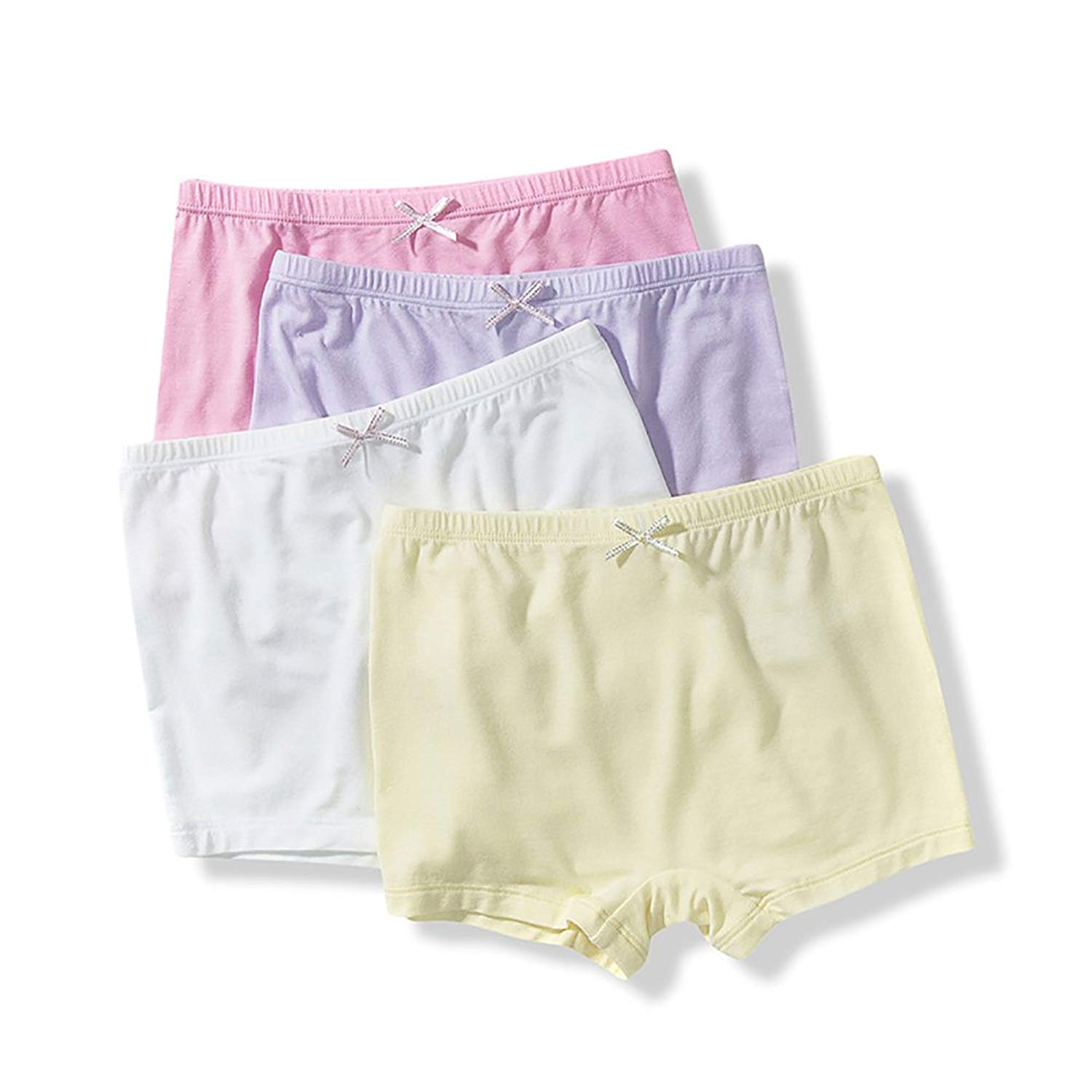 Threegunkids Girls Underwear Set Soft Cotton Briefs Boyshort Kids Panties 4 Pack