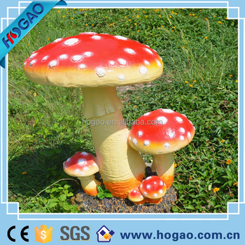 Resin Statue Outdoor Garden Decorations Colorful Stone Mushroom