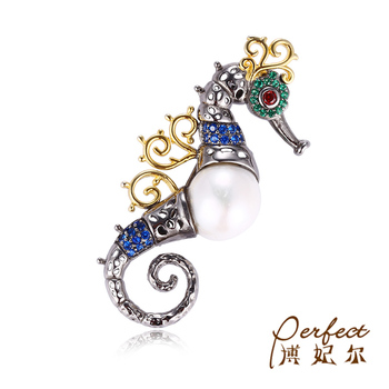 Custom Sea Horse Baroque Pearl 925 Sterling Silver Brooch High Quality