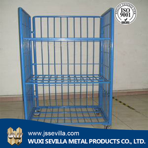 4 wheels folding Logistic Roll Container warehouse Storage Cart Trolley