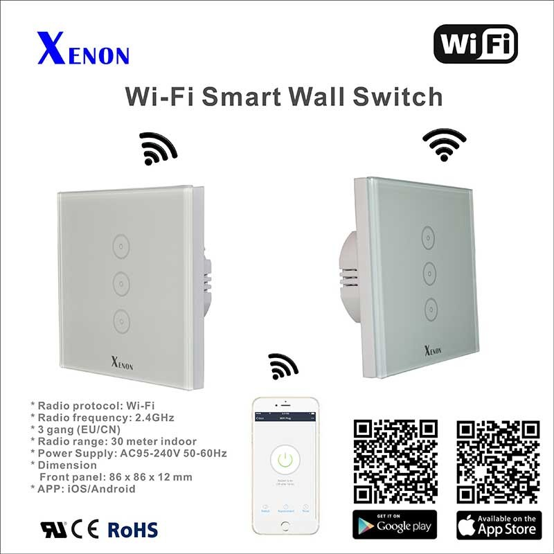 Xenon Smart Switch Wi-Fi 2.4G RF Remote Control Glass Panel 3 Gang 220V EU with Remote Controller Switch