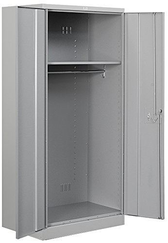 Salsbury Industries Heavy Duty Assembled Wardrobe Storage Cabinet, 78-Inch High by 24-Inch Deep, Gray