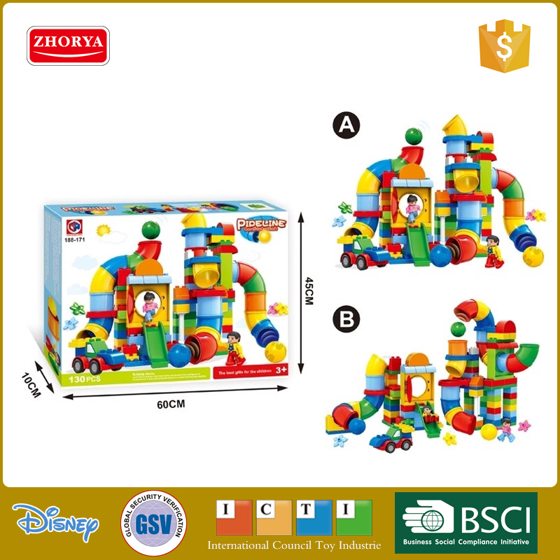 New style building block kids toys plastic building blocks toys for sale 130 pcs pipeline fairyland buiding block toys