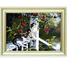 DIY Oil Painting By Numbers Canvas Cat Picture Coloring Paint Acrylic Painting Calligraphy By Number Wall Decor Landscape y45