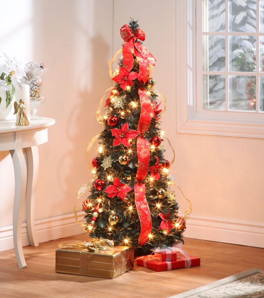get quotations 4 ft christmas spruce prelit poinsettia pull up tree - Pull Up Christmas Trees Decorated