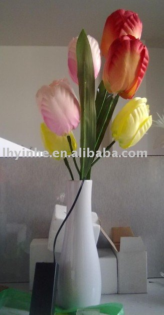 New design artificial tulip flower with LED bulb inside battery flower light