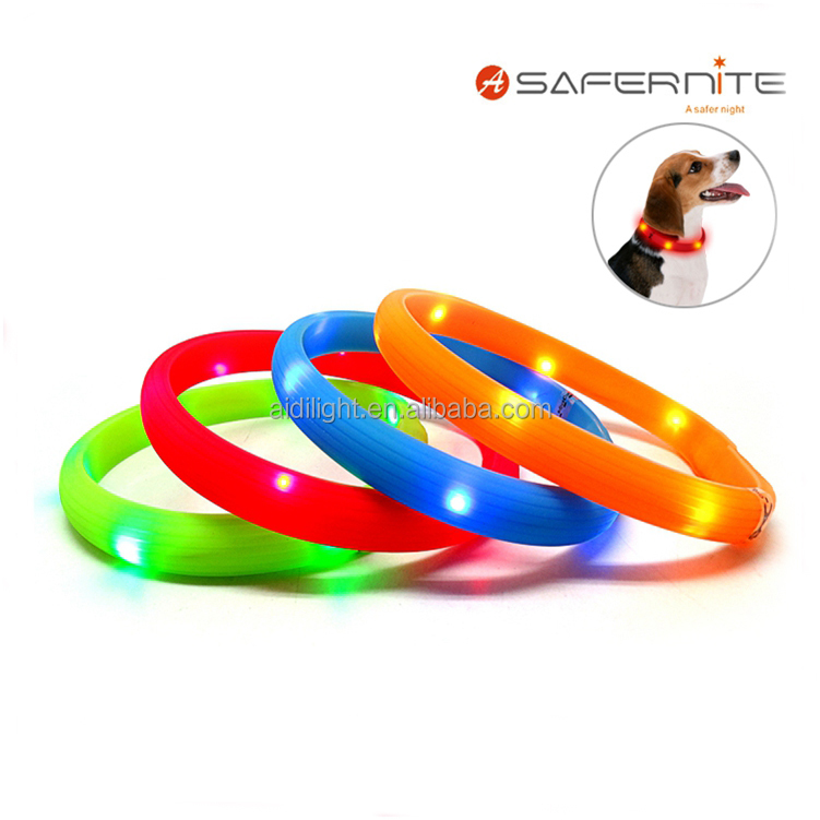 Pet Accessories Waterproof Rechargeable Silicone LED Flashing Dog collar