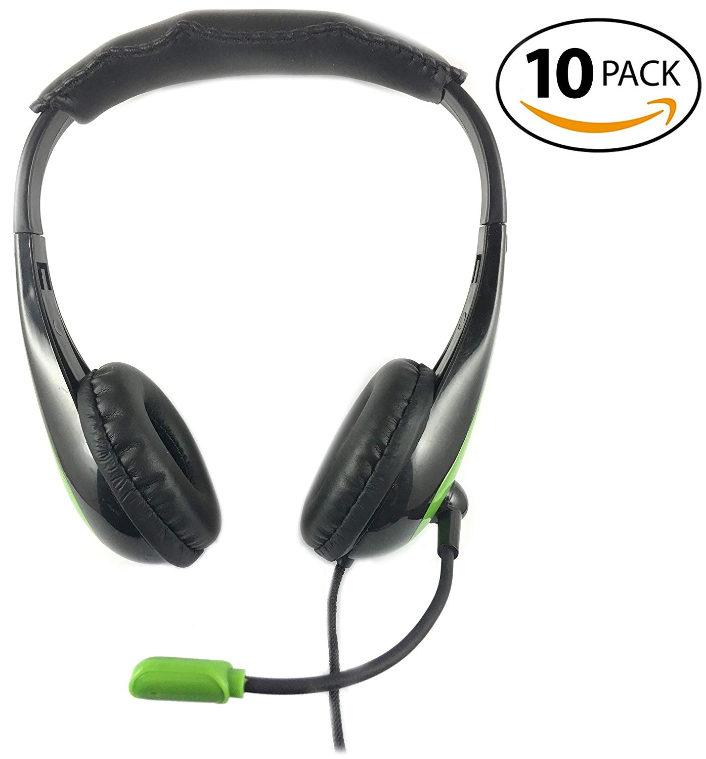 SmithOutlet 10 Pack Low Cost Headphones with Microphone Green Bulk