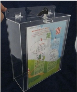 Custom Clear Wholesale Acrylic Donation Box with Lock