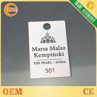 custom logo printed text engraved metal luggage plate with numbers special for hotel