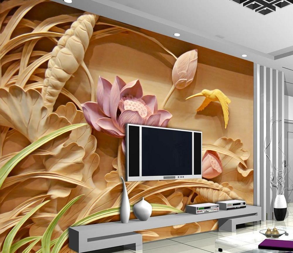 Wood carving lotus mural TV backdrop 3d wallpaper flower 3d ...