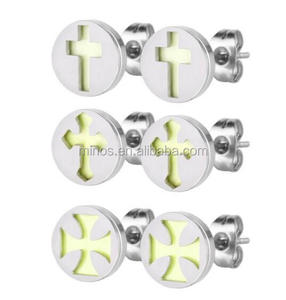 2016 New Design Assorted Lot Stainless Steel Glow In The Dark Round Stud Earrings