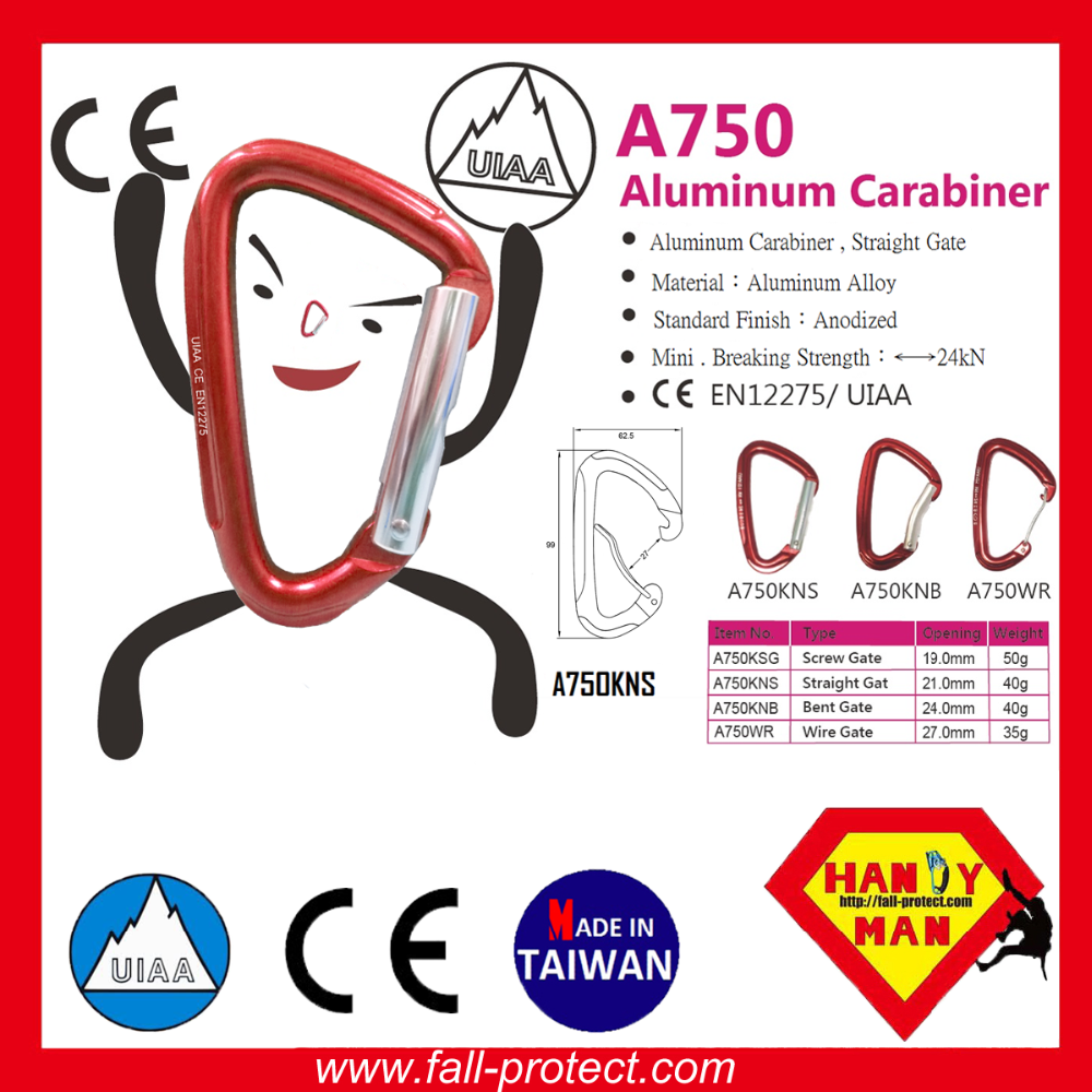With CE&UIAA Certificate Rock Climbing Carabiner Made Of Aluminum