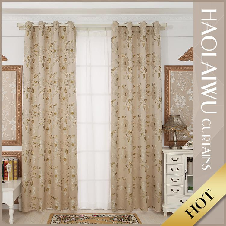 New arrival decorative custom 100% polyester livingroom jacquard blackout curtains