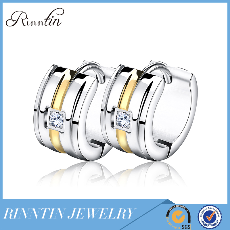 Rinntin Pretty Good Stainless Steel Hypoallergenic Man's Earrings Jewelry RIGTE37-G