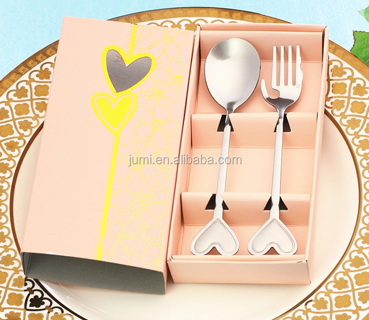 Love Heart Spoon Fork 2PCS Set Wedding favors return gift party supply