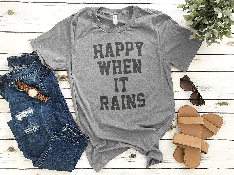 b44f5cbe7d Get Quotations · Happy When It Rains T-shirt, Ladies Crewneck T-shirt, Cute  Goth