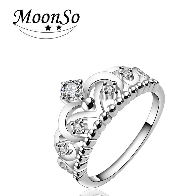 Wholesale European fashion wedding zircon silver plated high quality crown ring for women MOONSO AZR5613
