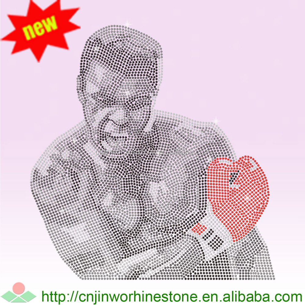 Wholesale Muhammad ALI Portrait Iron on Rhinestone Transfers for Garment