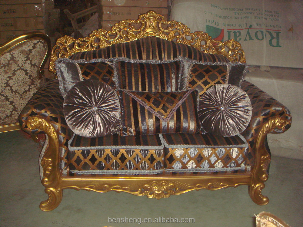 Luxury wooden carved sofa Gold leaf home furniture sofa S2911-A