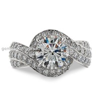 Beautiful Women Indian Design Jewelry Diamond Ring 14k White Gold Ring Cz Stone Engagement Ring Wholesale Handmade Jewelry