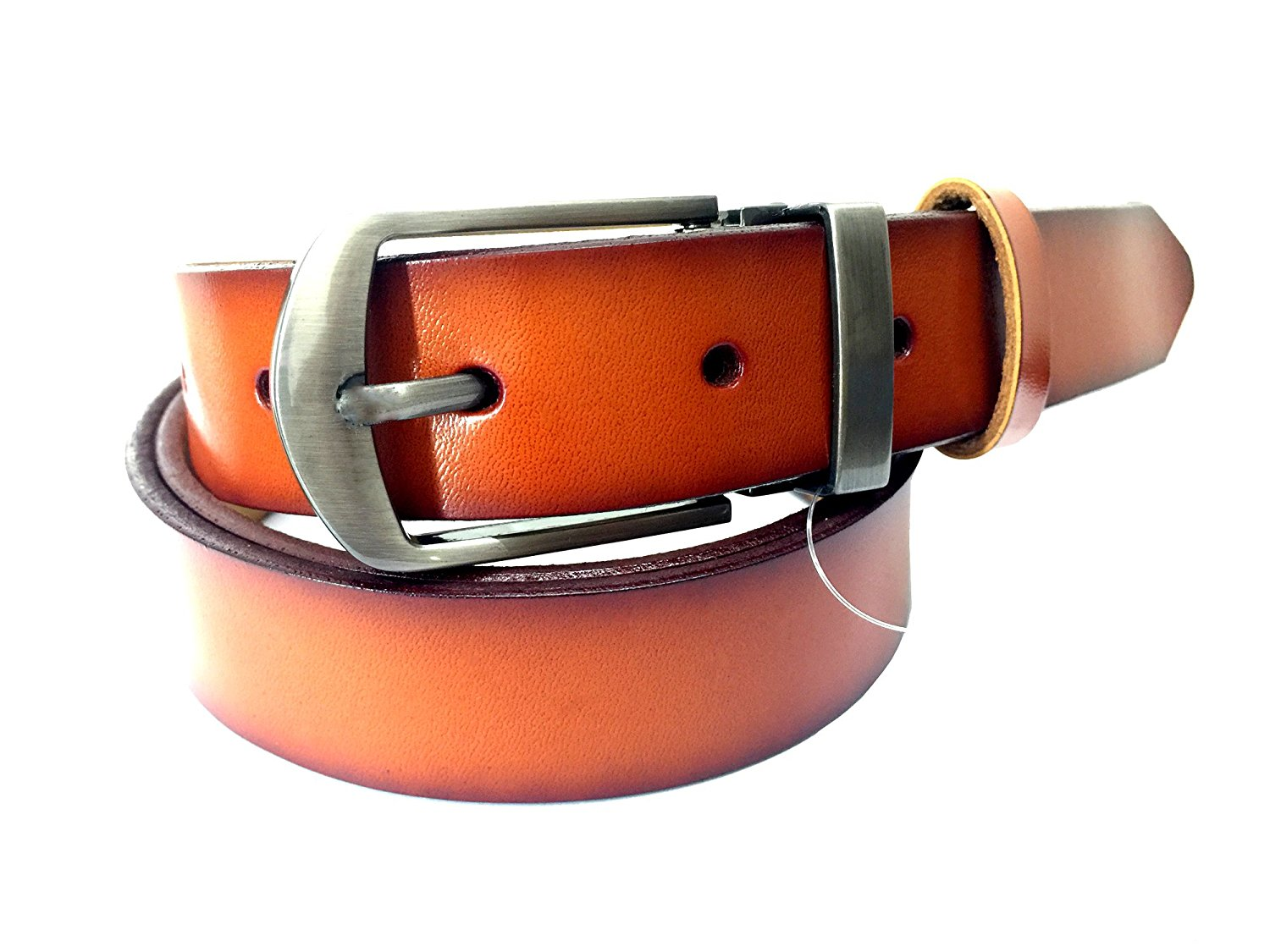 ... Leather Belt For womens In Split Leather 2.8CM Plain Belt With Black  Edge Camel Color