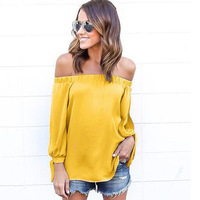 2017 Boho Women Off the Shoulder Blouse Tops Casual apparel