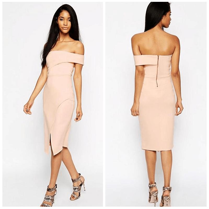 Get Quotations · New Look Women Sexy Off Shoulder One Shoulder Bardot Wrap  Split Front Bodycon Bandage Dress Debutante 61d3fc6c12
