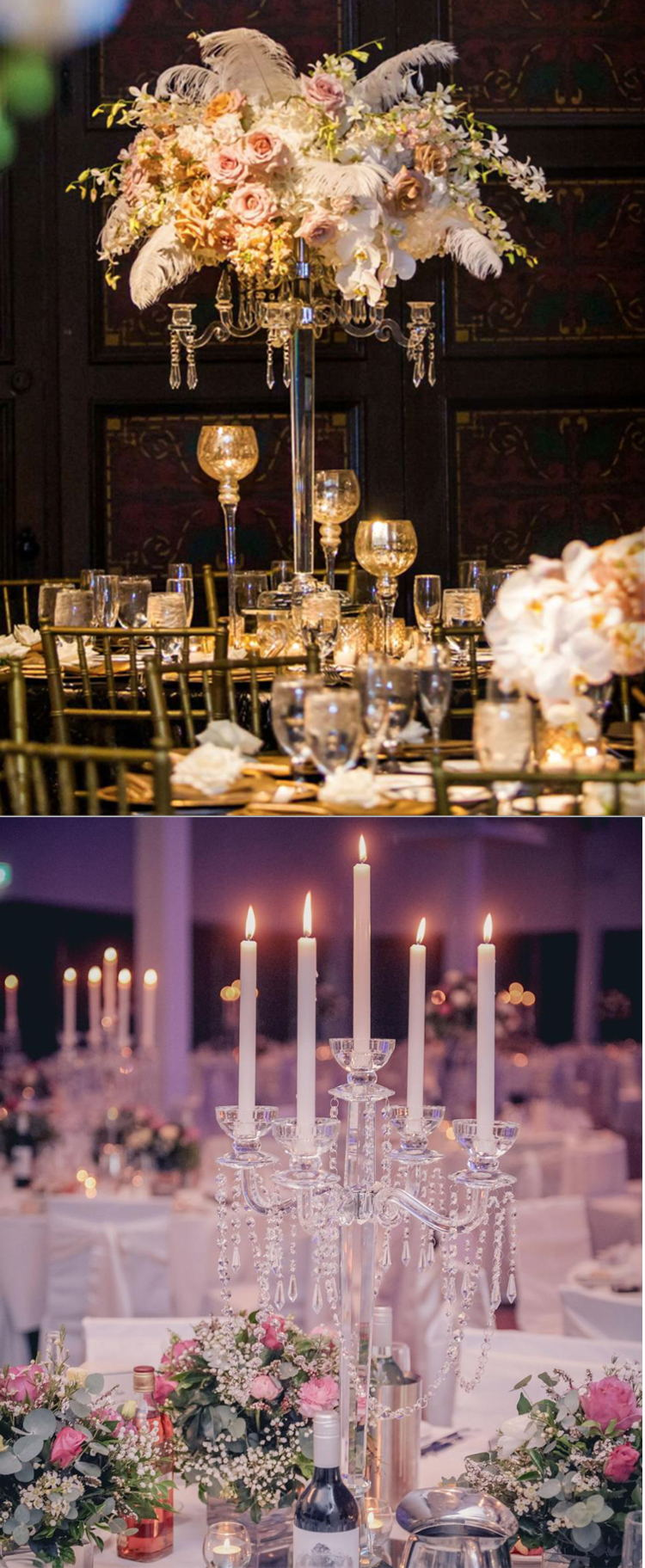 5 Braços Candelabros De Cristal para Peças Centrais Do Casamento de altura